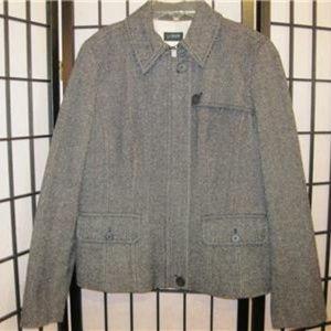 J CREW Black White Herringbone Wool Coat Jacket